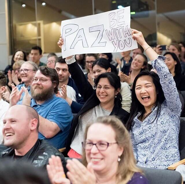 The UCSF Grad Slam audience cheers on competitor Stephanie Holden of the Neuroscience Program. Photo credit: Noah Berger.