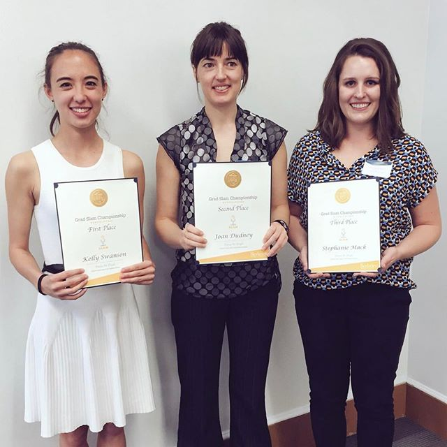 Congrats to UC Berkeley's Grad Slam winners: Kelly Swanson, 1st place; Joan Dudney, 2nd place; and Stephanie Mack, 3rd place. Swanson will represent Berkeley on May 4 at the UC Grad Slam finals!