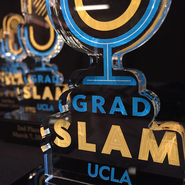 From @fwdlabs on Instagram: A close-up shot of the UCLA Grad Slam trophies.