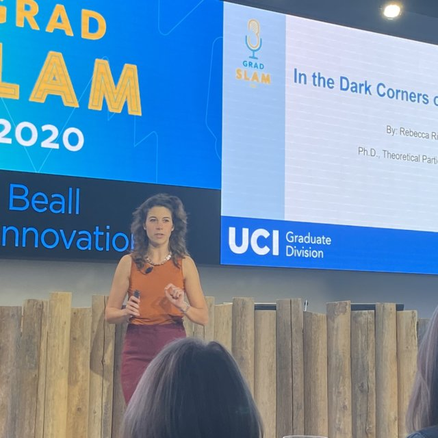 (Link to source tweet) U C Irvine Grad Slam winner Rebecca Riley, during her presentation.
