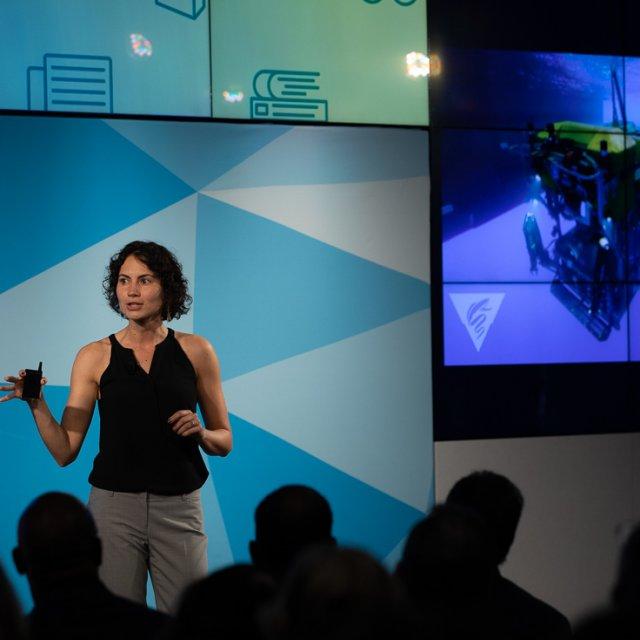 Rachael Harbeitner giving her presentation